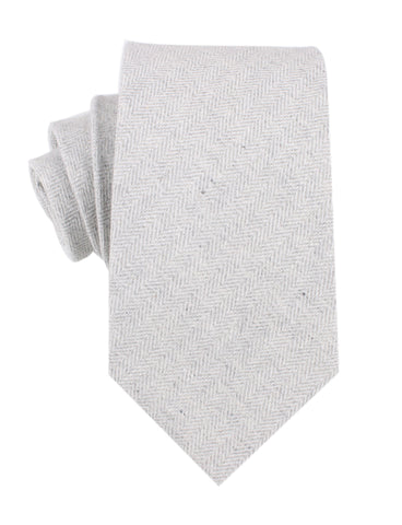 Light Grey Herringbone Linen Necktie