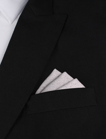 Light Grey Herringbone Linen Pocket Square