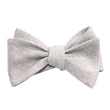 Light Grey Herringbone Linen Self Tie Bow Tie 1