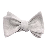 Light Grey Herringbone Linen Self Tie Bow Tie 2