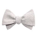 Light Grey Herringbone Linen Self Tie Bow Tie 3