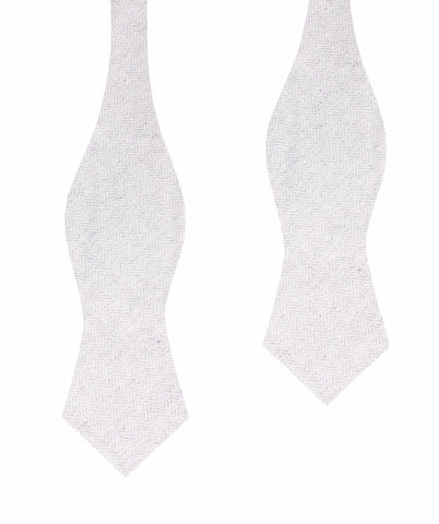 Light Grey Herringbone Linen Self Tie Diamond Bow Tie
