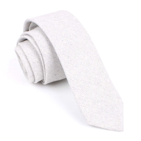 Light Grey Herringbone Linen Skinny Tie