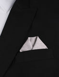 Light Grey Herringbone Linen Winged Puff Pocket Square Fold