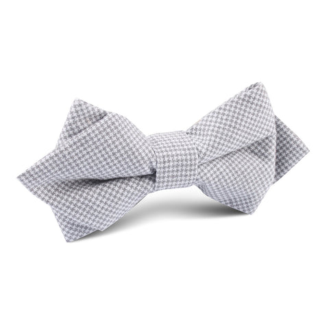 Light Grey Houndstooth Linen Diamond Bow Tie
