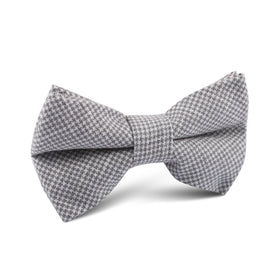 Light Grey Houndstooth Linen Kids Bow Tie