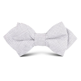 Light Grey Houndstooth Linen Kids Diamond Bow Tie