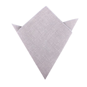 Light Grey Houndstooth Linen Pocket Square