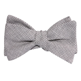 Light Grey Houndstooth Linen Self Tie Bow Tie