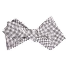 Light Grey Houndstooth Linen Self Tie Diamond Tip Bow Tie