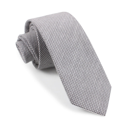 Light Grey Houndstooth Linen Skinny Tie