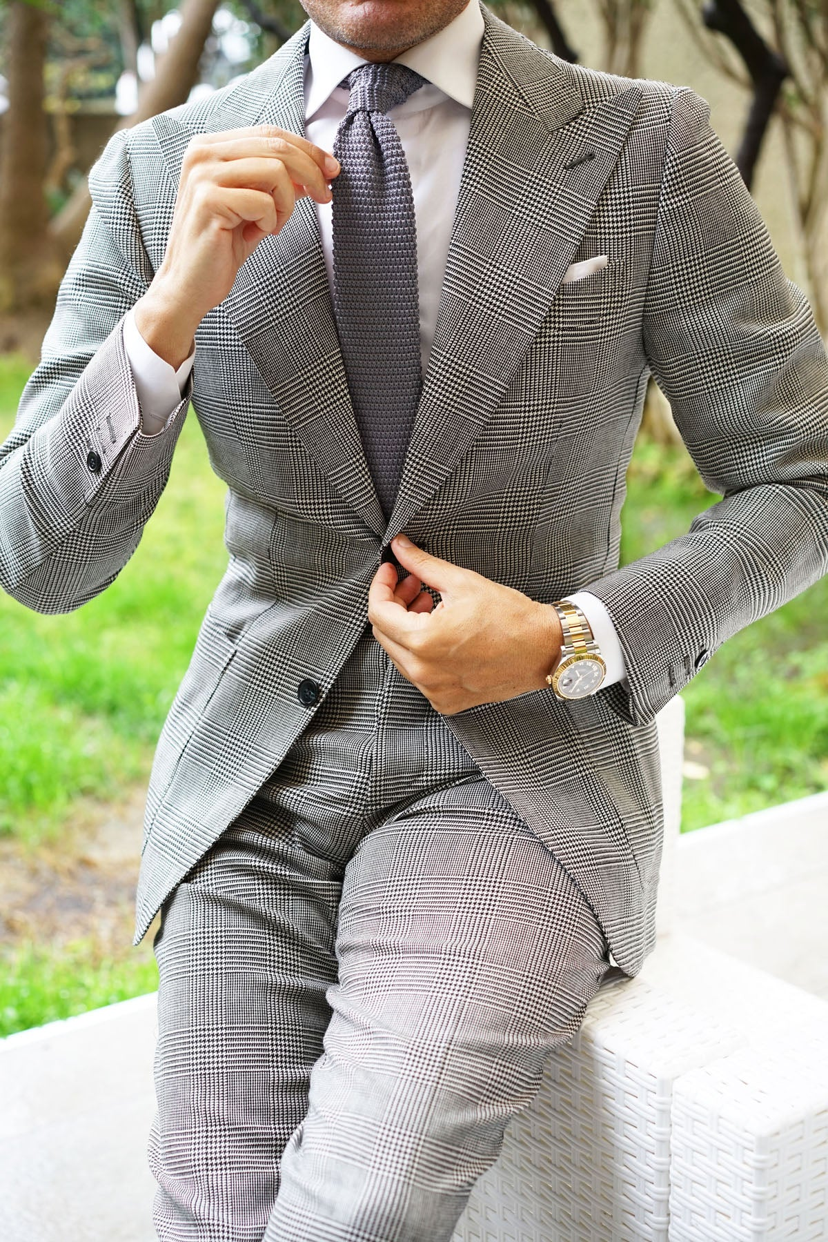 Light Grey Pointed Knitted Tie