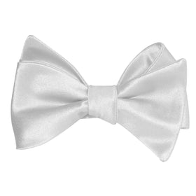 Light Grey Satin Self Tie Bow Tie