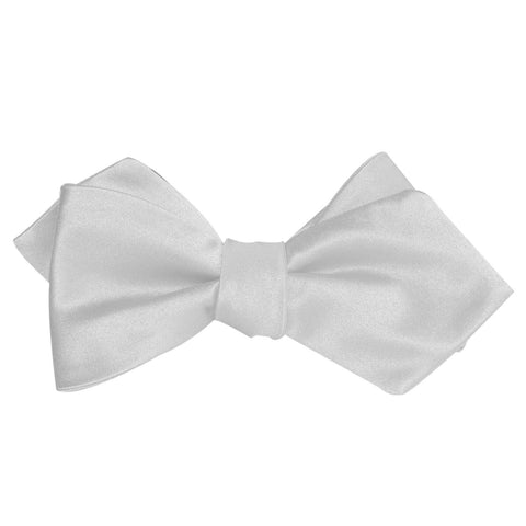 Light Grey Satin Self Tie Diamond Tip Bow Tie