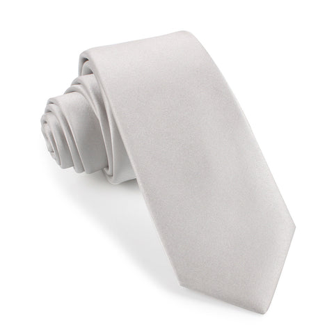 Light Grey Satin Skinny Tie