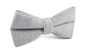 Light Grey Twill Stripe Linen Bow Tie