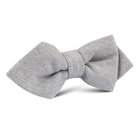 Light Grey Twill Stripe Linen Diamond Bow Tie