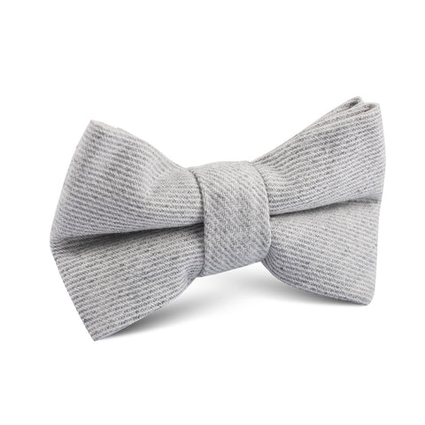 Light Grey Twill Stripe Linen Kids Bow Tie