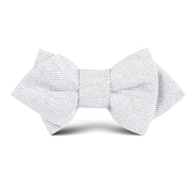 Light Grey Twill Stripe Linen Kids Diamond Bow Tie