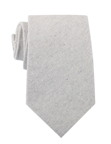 Light Grey Twill Stripe Linen Necktie