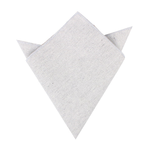 Light Grey Twill Stripe Linen Pocket Square