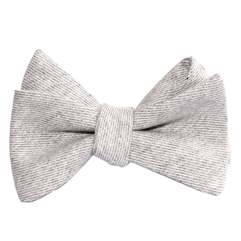 Light Grey Twill Stripe Linen Self Tie Bow Tie