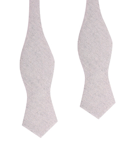 Light Grey Twill Stripe Linen Self Tie Diamond Tip Bow Tie