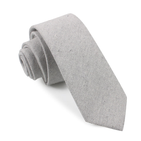 Light Grey Twill Stripe Linen Skinny Tie