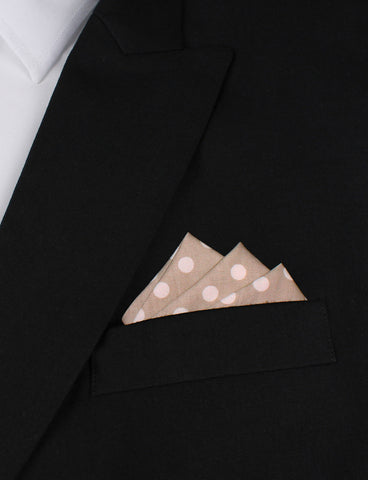 Light Grey with Large White Polka Dots Pocket Square