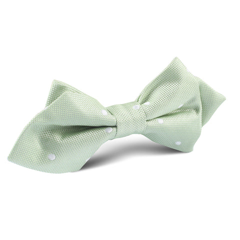 Light Mint Pistachio Green Polkadots Diamond Bow Tie