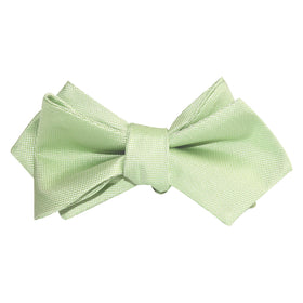 Light Mint Pistachio Green Self Tie Diamond Tip Bow Tie