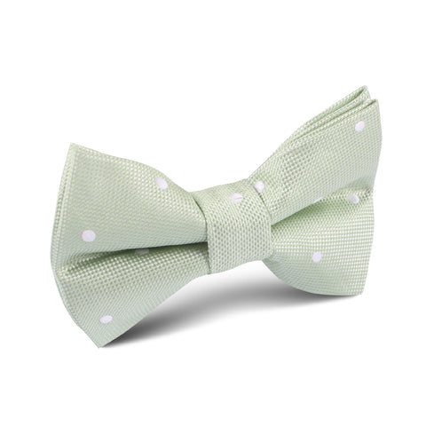 Light Mint Pistachio Green with White Polka Dots Kids Bow Tie