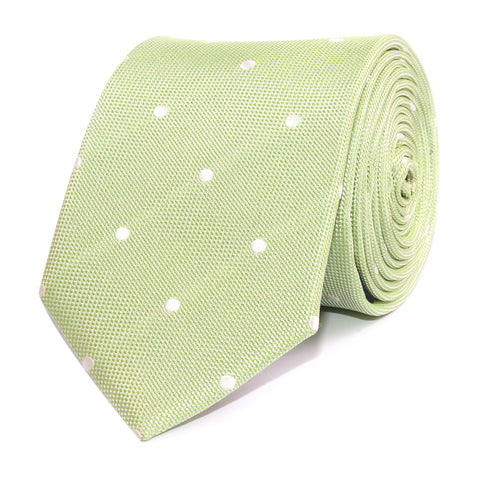 Light Mint Pistachio Green with White Polka Dots Necktie