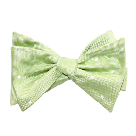 Light Mint Pistachio Green with White Polka Dots Self Tie Bow Tie