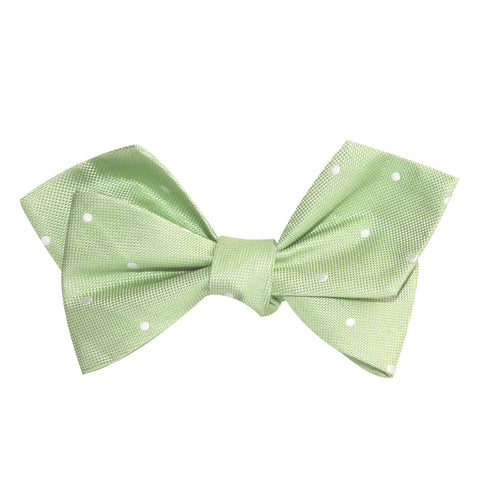 Light Mint Pistachio Green with White Polka Dots Self Tie Diamond Tip Bow Tie