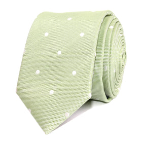 Light Mint Pistachio Green with White Polka Dots Skinny Tie