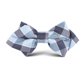 Light & Navy Blue Checkered Kids Diamond Bow Tie