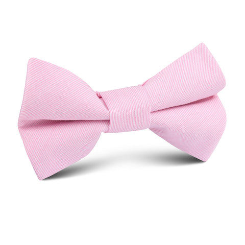 Light Pink Cotton Pinstripes Kids Bow Tie