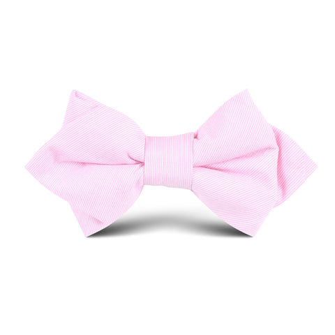 Light Pink Cotton Pinstripes Kids Diamond Bow Tie
