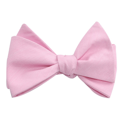 Light Pink Cotton Pinstripes Self Tie Bow Tie