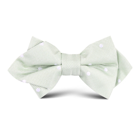 Light Pistachio Green Polkadot Kids Diamond Bow Tie