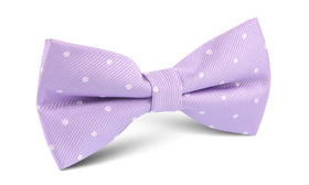 Light Purple with White Polka Dots Fabric Bow Tie M135