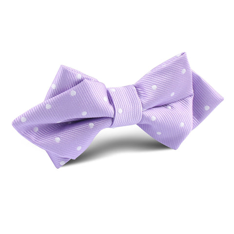 Light Purple with White Polka Dots Diamond Bow Tie