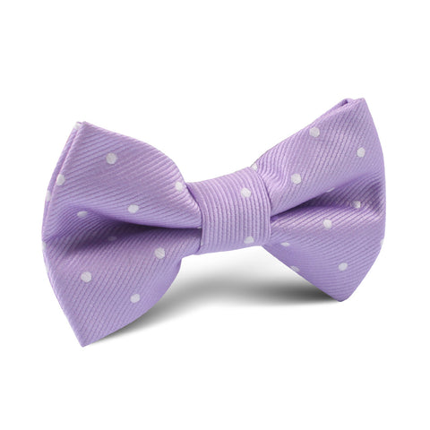 Light Purple with White Polka Dots Kids Bow Tie