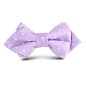 Light Purple with White Polka Dots Kids Diamond Bow Tie