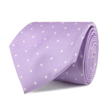Light Purple with White Polka Dots Necktie Front Roll