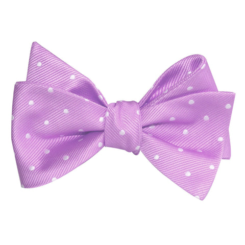 Light Purple with White Polka Dots Self Tie Bow Tie