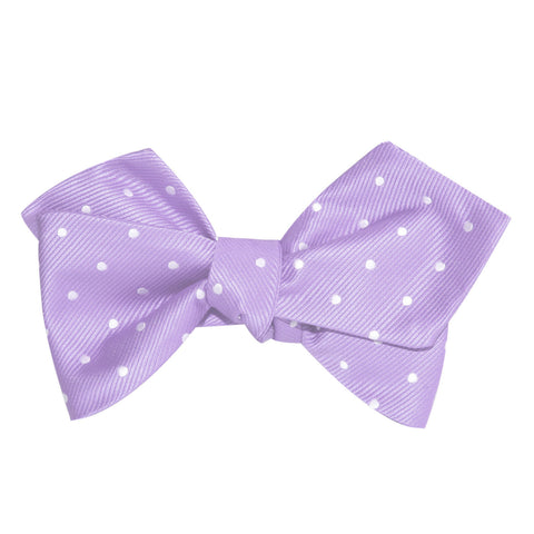 Light Purple with White Polka Dots Self Tie Diamond Tip Bow Tie