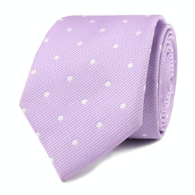 Light Purple with White Polka Dots Skinny Tie