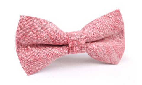 Light Red Chambray Linen Bow Tie